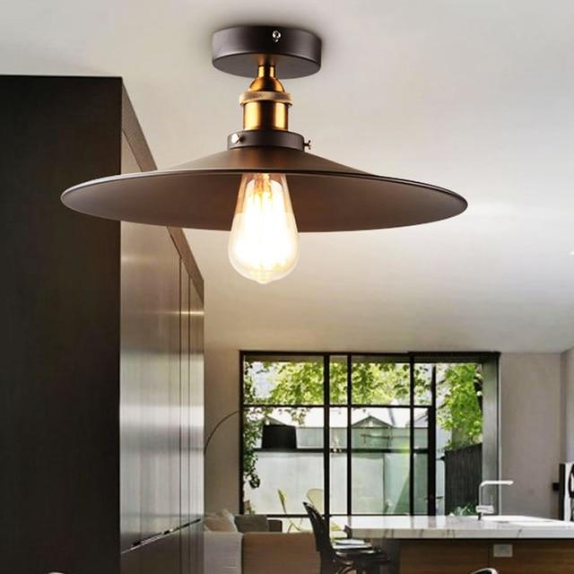 b6bf914292a Loft Vintage Ceiling Lamp Round Retro Ceiling Light Industrial Design Edison  Bulb Antique Lampshade Ambilight Lighting Fixture