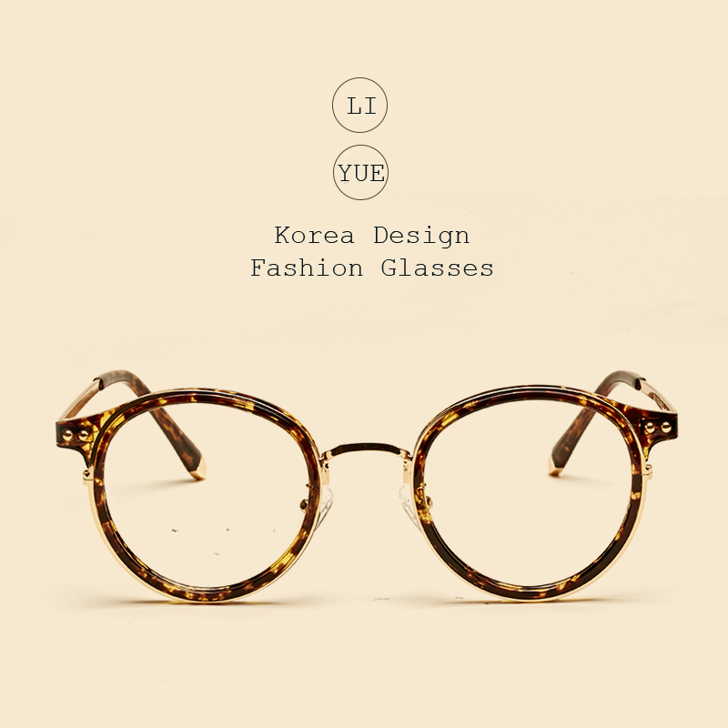 LIYUE Myopia Spectacles frame metal legs Round eyewear frame women Fashion Transparents Optical Clear Glasses Frame eyeglasses