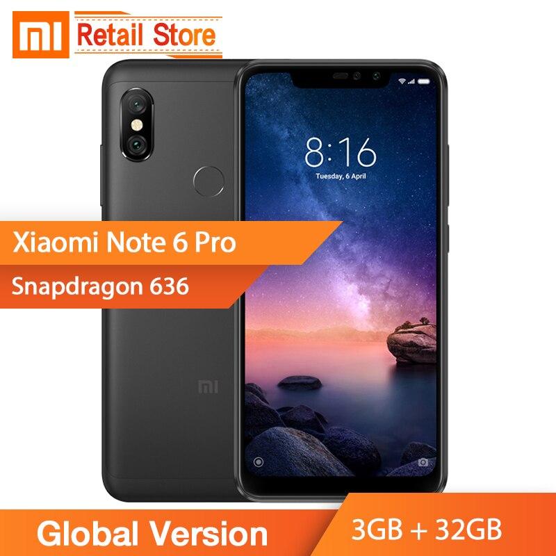 In Stock Global Version Xiaomi Redmi Note 6 Pro 3GB 32GB Snapdragon 636 Octa Core 6