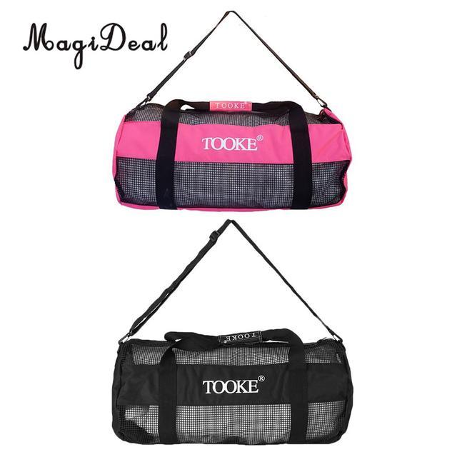 MagiDeal Heavy Duty Mesh Duffel Bag Storage Pouch for Scuba Diving  Snorkeling Black Pink b294c5847e