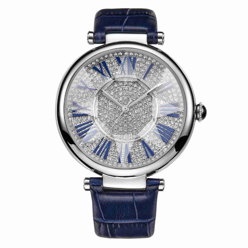 MATISSE Fashion Full Crystal Dial Roman Number Leather Strap Women Fashion Quartz Watch Blue
