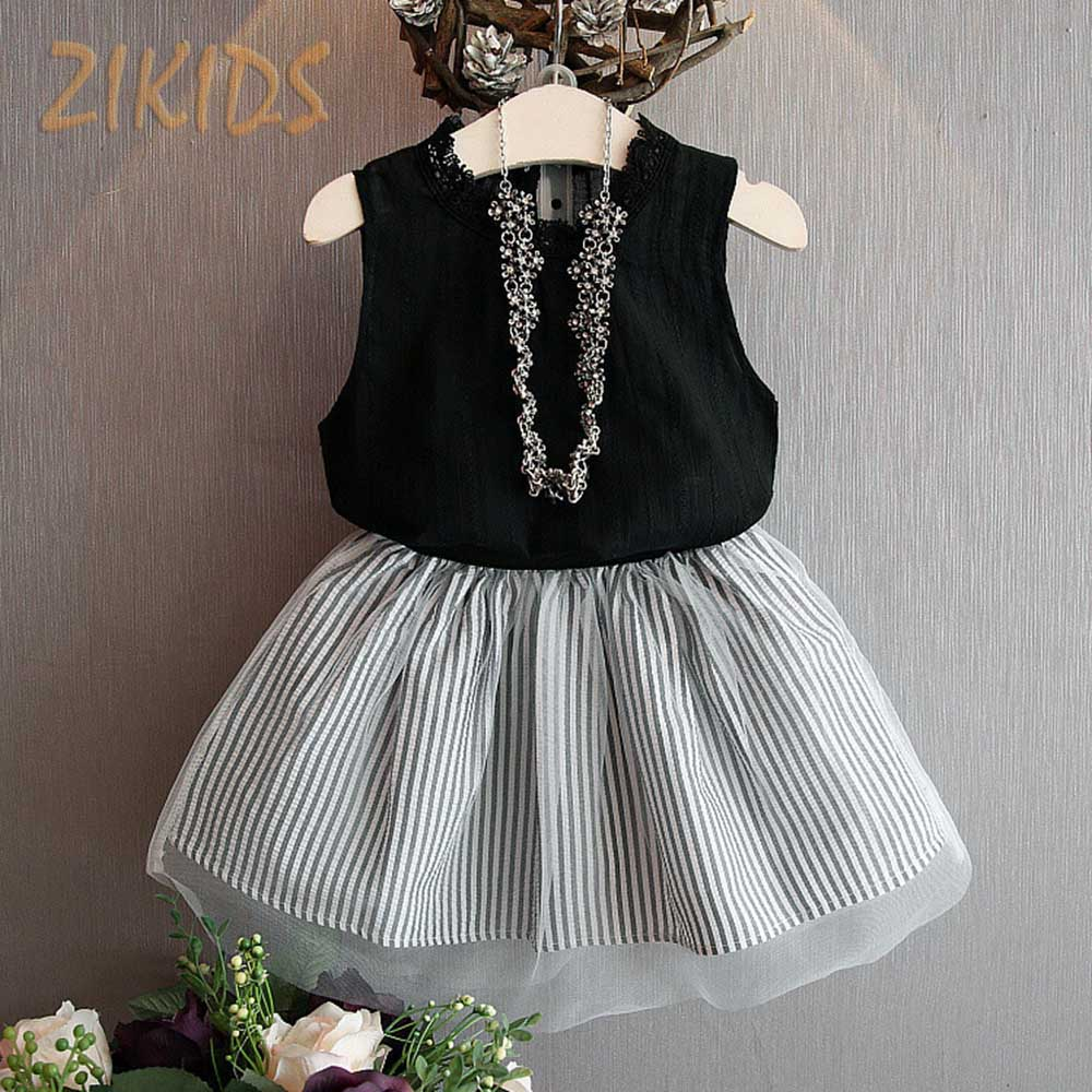 Girls Clothing Sets Solid Vest Tank+Striped Mesh Skirts Kids Clothes Brand Children Dress Suits Summer 2016 New Fashion new girls dress brand summer clothes ice cream print costumes sleeveless kids clothing cute children vest dress princess dress