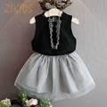 Girls Clothing Sets Solid Vest Tank+Striped Mesh Skirts Kids Clothes Brand Children Dress Suits Summer 2016 New Fashion