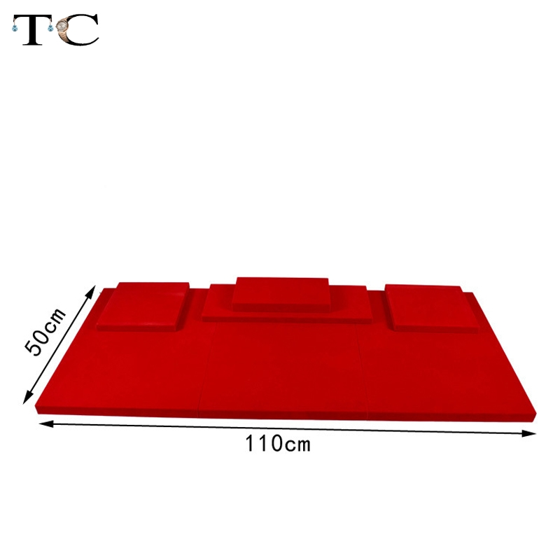 MDF Board Red Velvet Jewelry Diplay Stand Jewellery Window Showcase 100*50*2cm ...