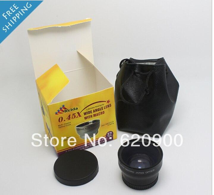 Prix pour Fisheye objectif Grand 37mm 0.45x objectif Grand Angle avec Macro utiliser 46mm filtres + Avant et Arrière Cap AVEC macro POUR nex 5