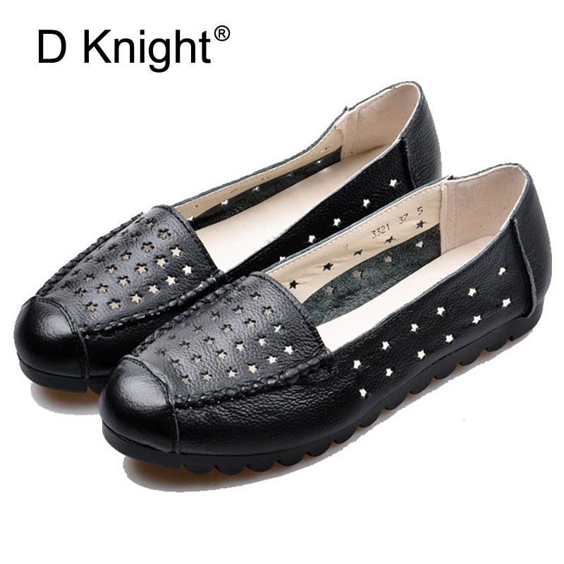 2018 Women Soft flats Nurse Breathable Shoes Split Leather Women Spring Summer Light Causal Shoes Slip On Loafer Shoes For Women