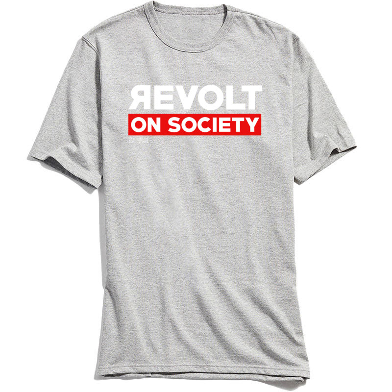 Cotton Fabric Men T Shirt Letter Street Style Tshirt Male Short Sleeve Revolt On Society T-Shirt Grey Tees 2018 Discount Tops