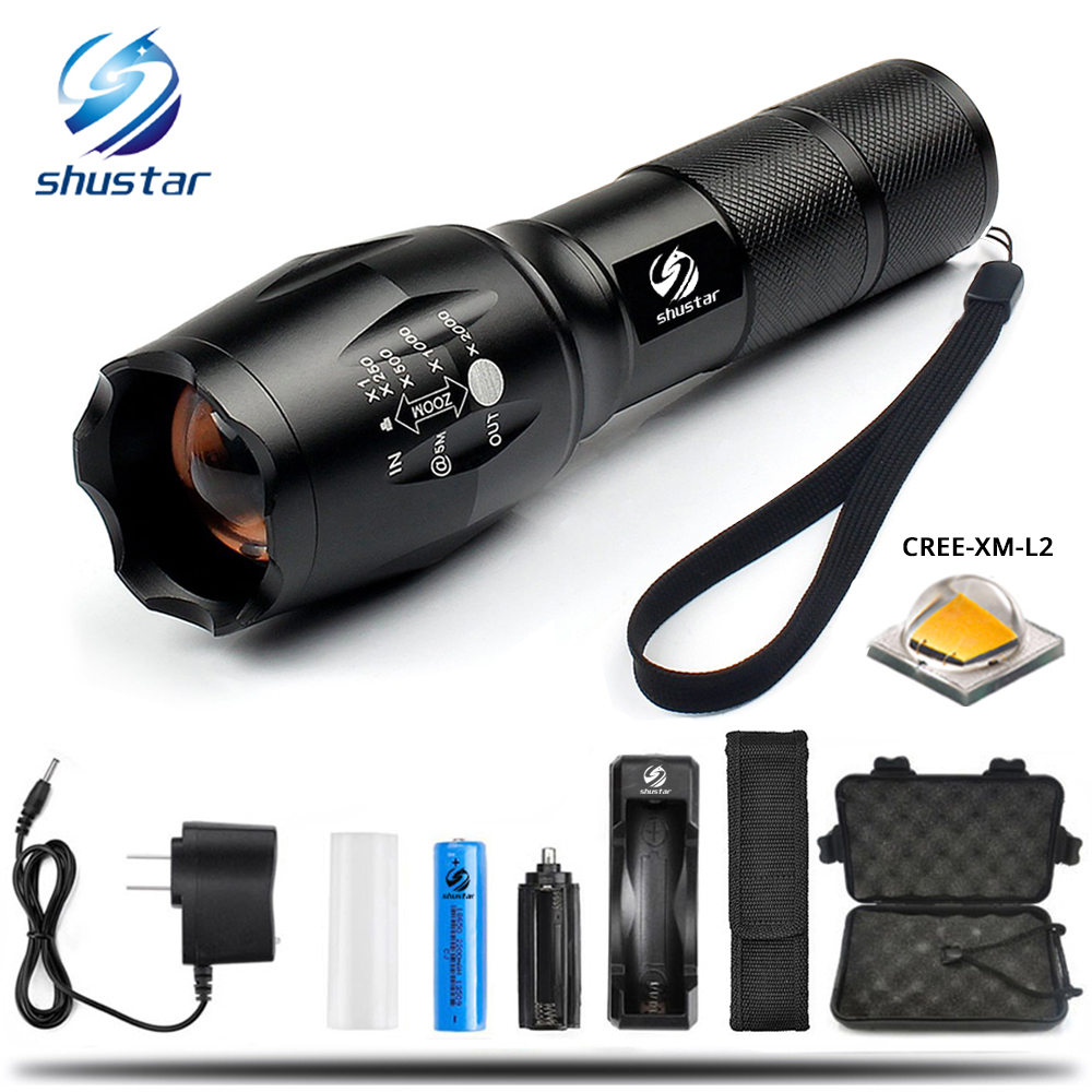 LED lampe de poche Tactique lampe de Poche 8000 Lumens CREE XM-L2 Zoomables 5 Modes aluminium Lanterna LED Torche lampes de Poche Pour Le Camping