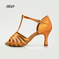 BD 2351 Dance Shoes Ballroom Women Latin shoes Dancing WOMAN Shoe High Heels Rumba Discount Footguard Laces Convenient Buckle