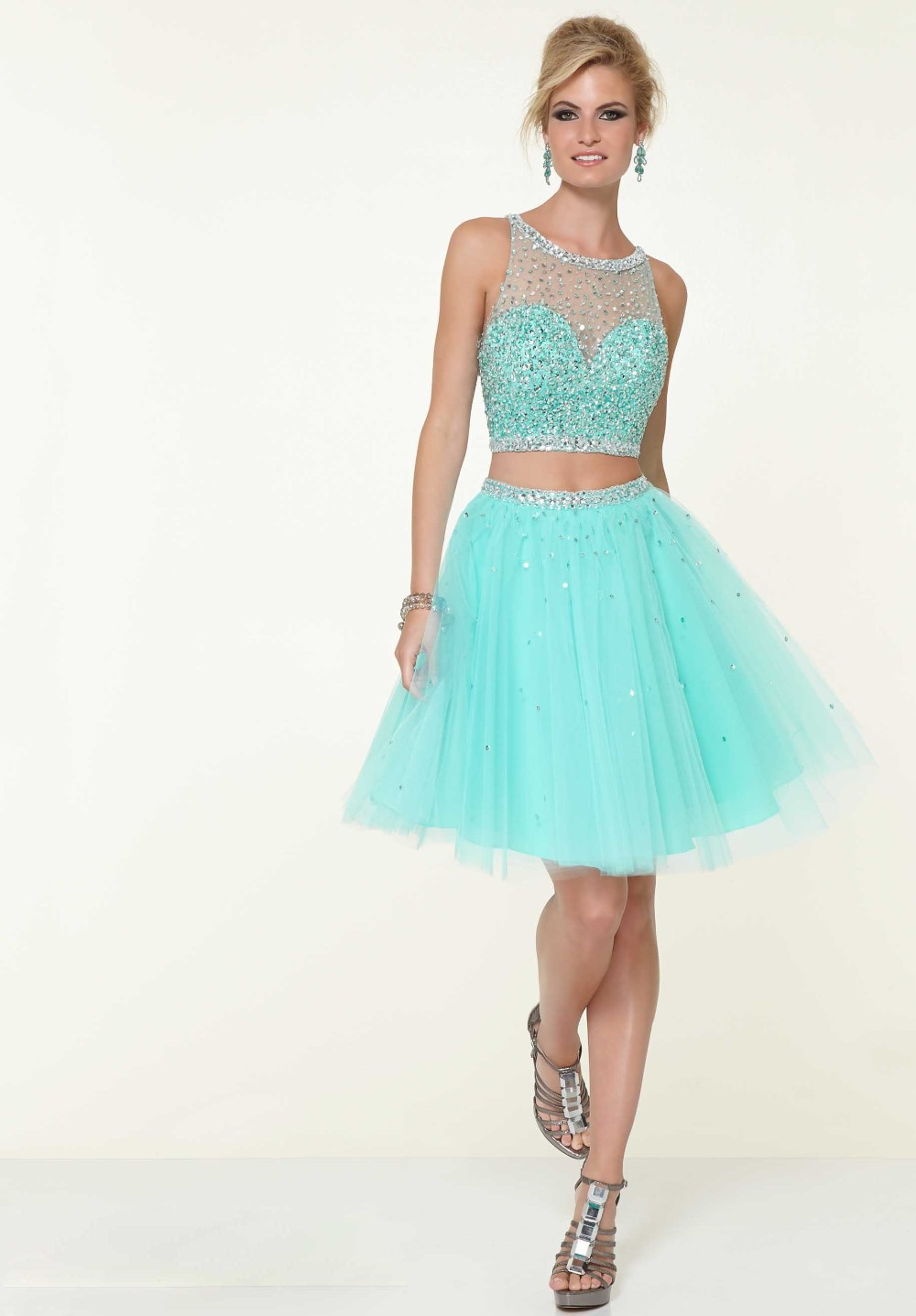 Short-Dress Rainbow Renaissance-Gowns Crystal Blue Nude Vestidos Formales