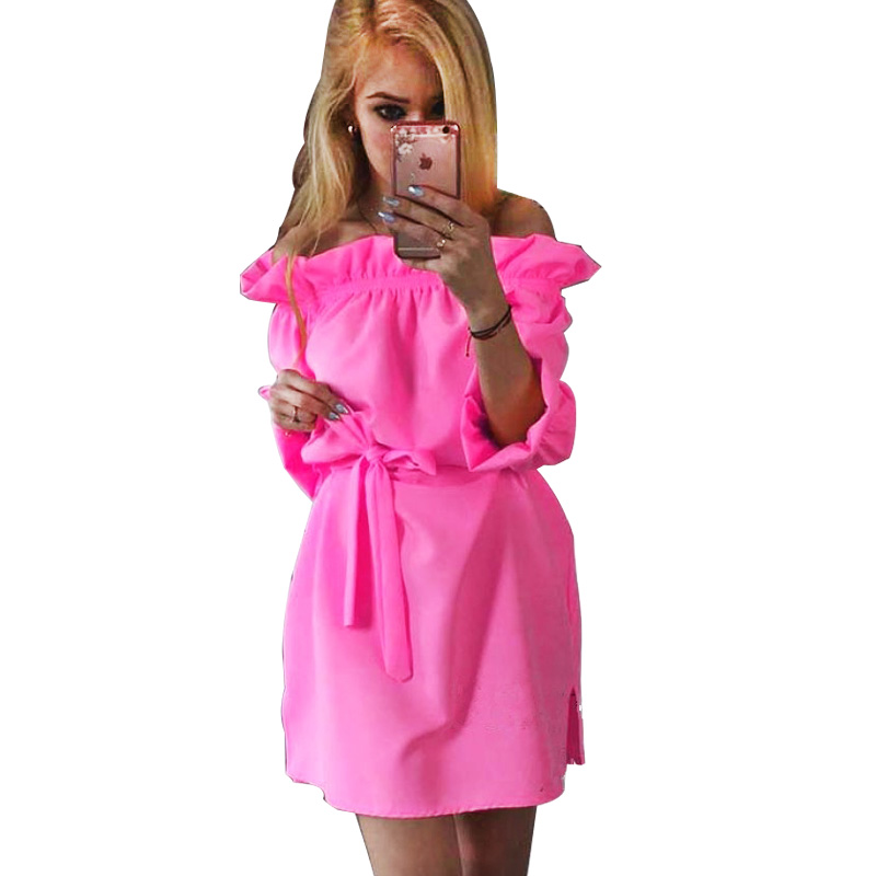 Vestidos 2016 fashion elegant Candy Neon color women