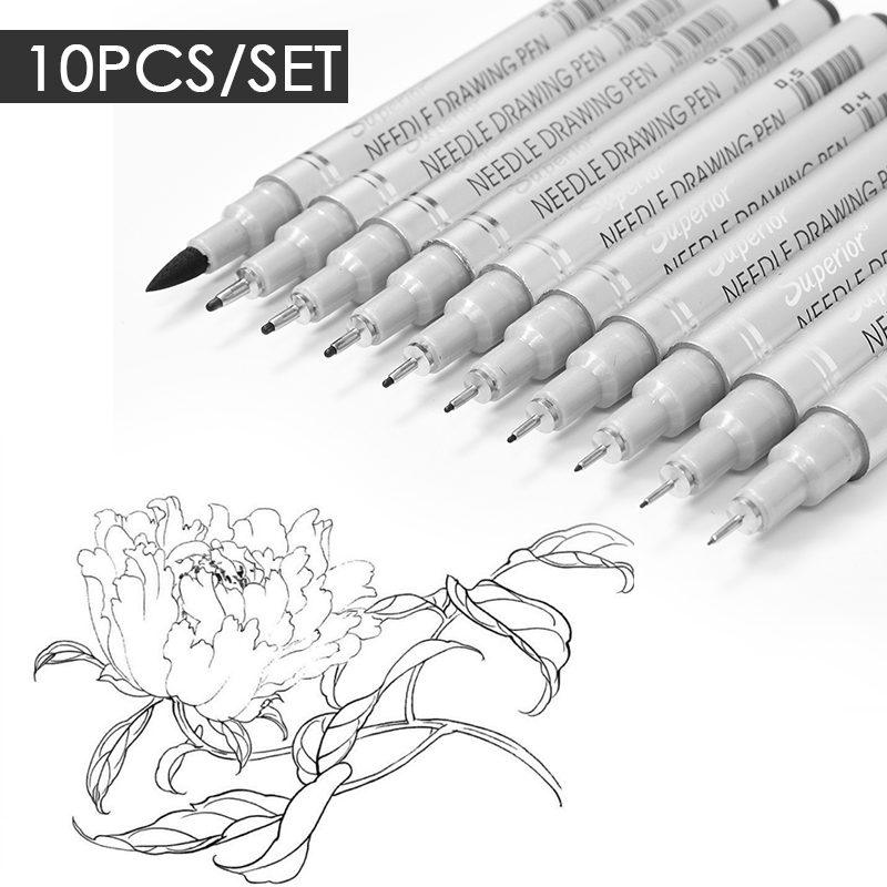 10pcs Needle Drawing Pen Waterproof Sketch Pigment Fine Liner Pen Set Professional Marker Hook Pens For Signature Artist + Brush
