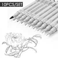 10pcs Needle Drawing Pen Waterproof Sketch Pigment Fine Liner Pen Set Professional Marker Hook Pens For Signature Artist + Brush