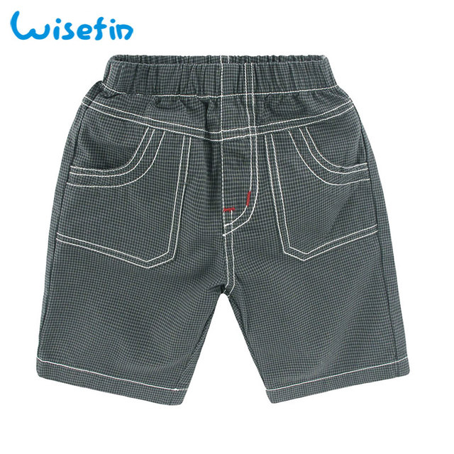 08d824de47c Wisefin Boys Shorts 100% Cotton Trousers Summer Elastic Waist Pocket Loose  Small Plaid Fashion Sports Kid Casual Short Pants