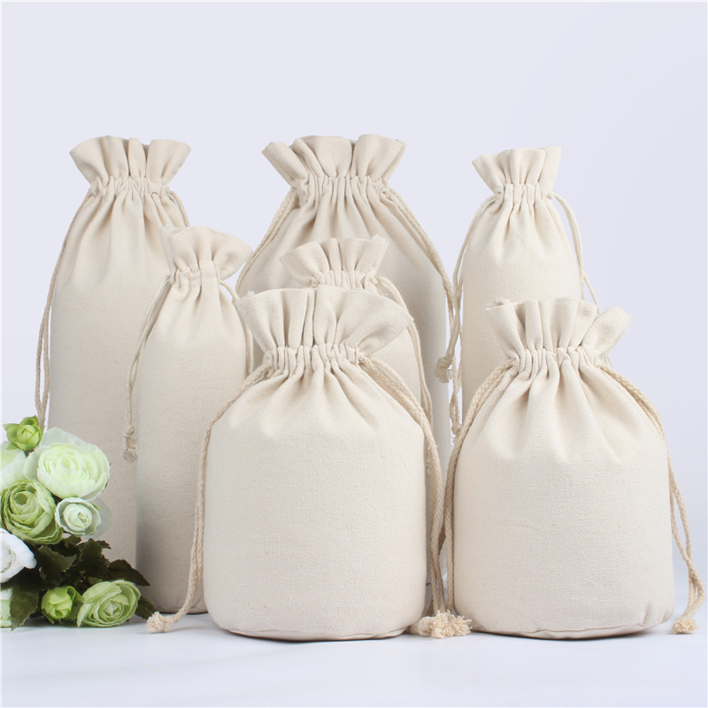 Custom Logo Printed Cotton Storage Canvas Bags Drawstring Bag Food Bottle Pouch Bag Wholesale Price