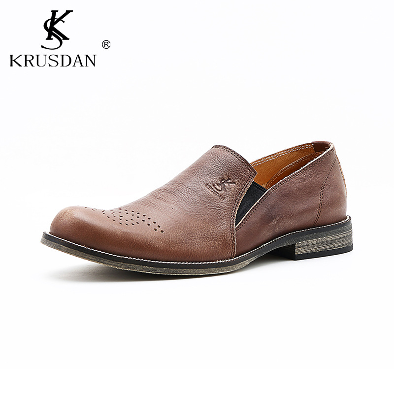 Hot Sale Men's Shoes Genuine Leather Slip On Men Loafers Italian Style Luxry Brand Dress Oxford Wedding