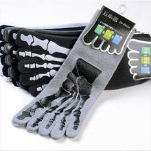 Men's Cotton Five-finger Socks Claws Print Personality Tube Socks Deodorant Spri