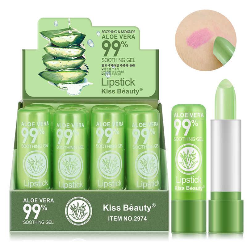 1PCs Aloe Vera ลิปสติกเปลี่ยนสี Glitter CLEAR ลิปสติกบำรุงลิปสติก Lip Moisturizer แต่งหน้า TSLM2