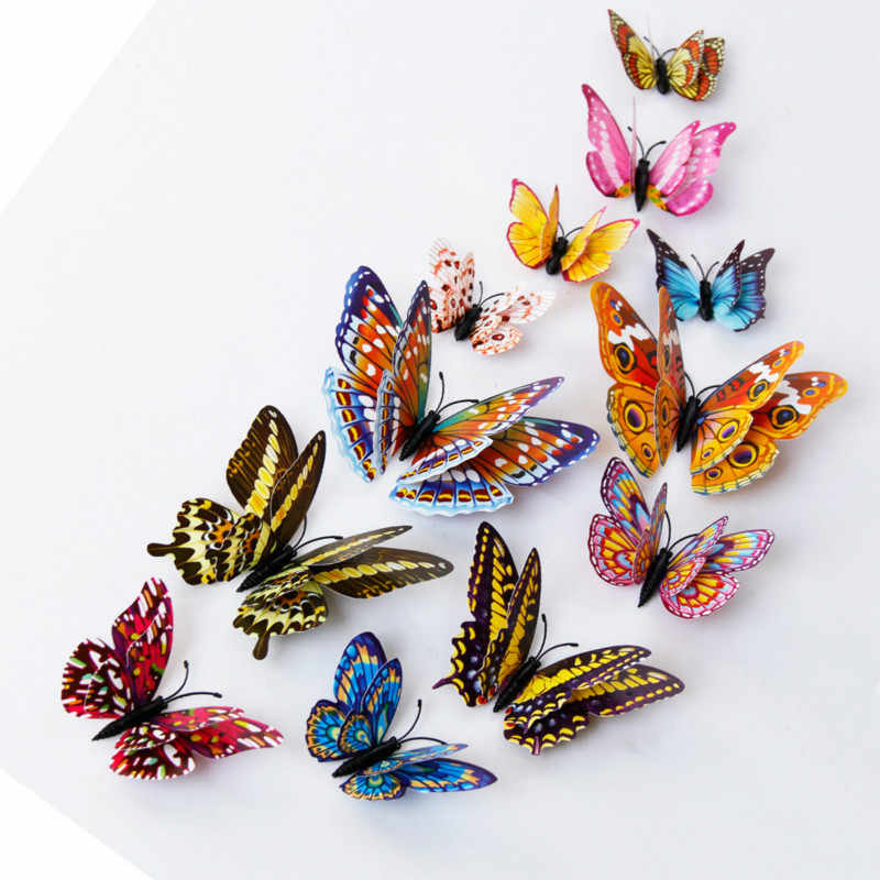 12Pcs/Pack Glow in Dark Toys Luminous Butterfly Stickers 3D Bedroom Fluorescent Toy PVC Adhesive Stickers for Kids Room