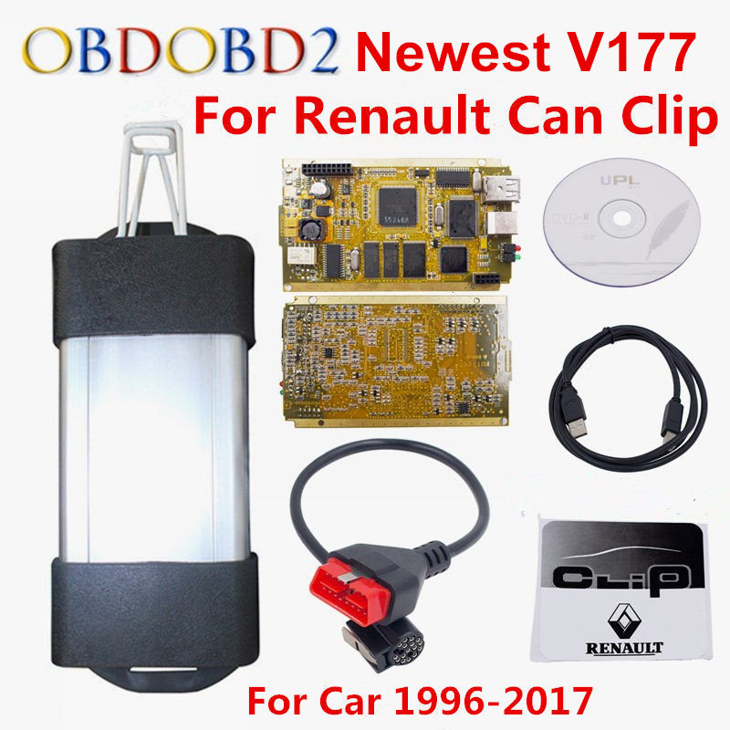 Latest V177 For Renault Can Clip Full Chip CYPRESS AN2131QC OBDII Auto Diagnostic Interface CAN Clip For Renault Code Scanner 2018 newest v178 for renault can clip full chip gold cypress an2135sc 2136sc chip nec relay obd2 interface diagnostic scanner