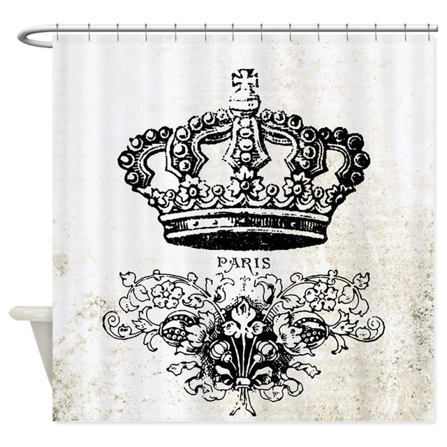 Vintage French Shabby Chic Crown Shower Curtain Decorative Fabric For The Bathroom With 12