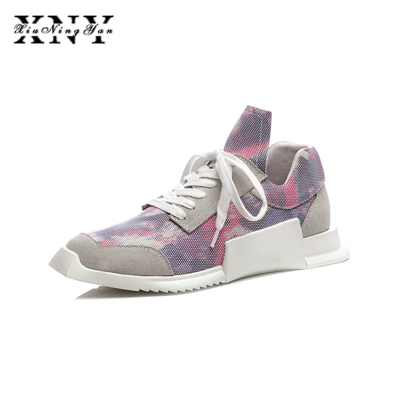 XIUNINGYAN Spring Women Casual Shoes Flat Platform Lace Up Cow Suede Sneakers Female Lesuire Creepers Purple Footwear Shoe Woman 2018 new summer women casual shoes lace up woman sneakers breathable flat footwear female mesh shoes fashion dt926