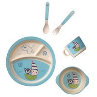 5pcs New Bamboo Fiber Children Tableware Set Baby Dinnerware Plate Dishes Bowl Cup Spoon Plate Fork