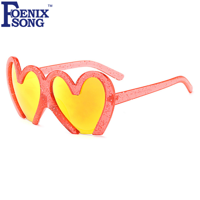 FOENIXSONG Fashion Heart-Shaped Sunglasses Women Brand Designer Cute Plastic Frame Googles Sun Glasses Oculos De Sol Feminino