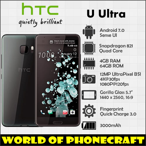 HTC U Ultra 4 gb RAM 64 gb ROM Quad Core Snapdragon 821 5.7 Grand Écran 12MP NFC Rapide chargeur 3.0 D'empreintes Digitales 4g LTE smartphone