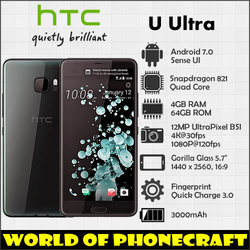 HTC U Ultra 4GB RAM 64GB ROM Quad Core Snapdragon 821 12MP Camera NFC Nano SIM Rapid Charger 3.0 Fingerprint 4G LTE smartphone