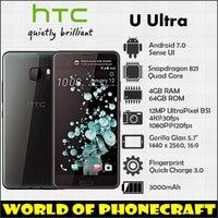 HTC U Ultra 4GB RAM 64GB ROM Quad Core Snapdragon 821 5.7 Large Screen 12MP NFC Rapid Charger 3.0 Fingerprint 4G LTE smartphone