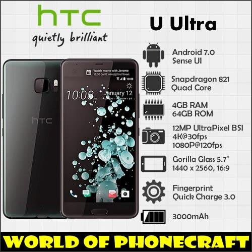 HTC U Ultra 64 4 gb RAM gb ROM Quad Core Snapdragon 821 5.7 Large Screen 12MP NFC Rápido carregador 3.0 Fingerprint 4g LTE smartphones
