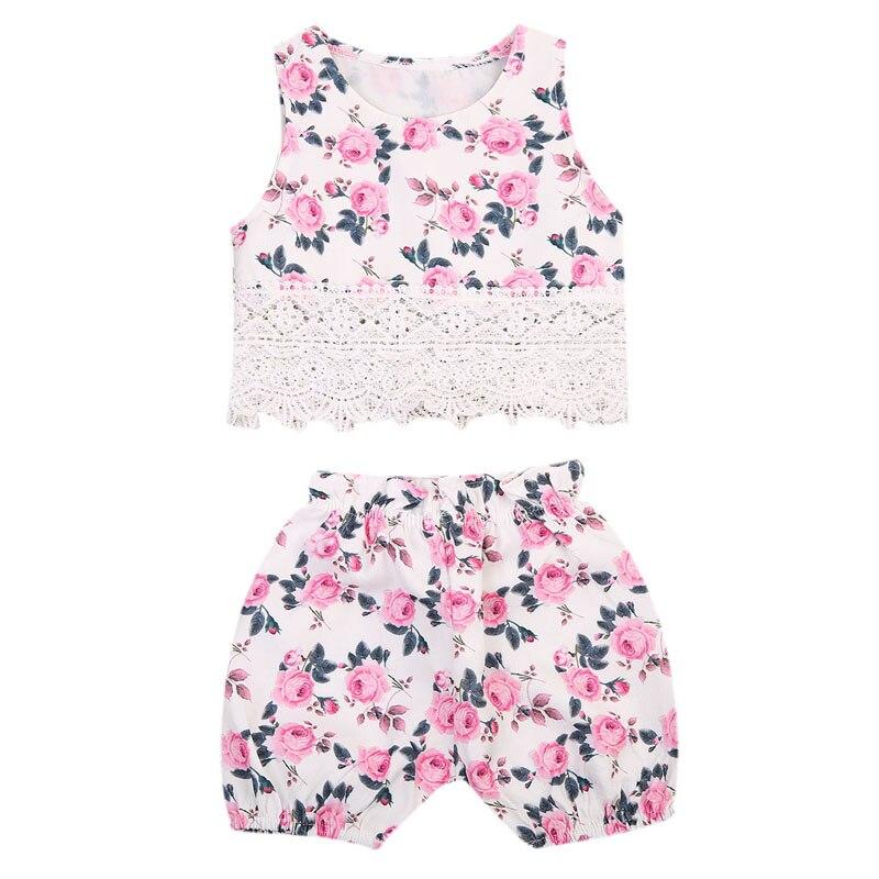 New Princess Baby Girl Clothes Set Lace Tops T-shirt+Floral Shorts Pants Outfits Set Clothes