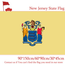 Free shipping 3x5ft American New Jersey State Polyester Banner Printing Size 90*150cm 60*90cm Flag 30*45cm Car