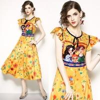 2019 Knitting Cotton Summer Floral Dress Women 0 Neck Short Butterfly Sleeve Robe Elegant Runway Retro Vintage Dress Vestidos
