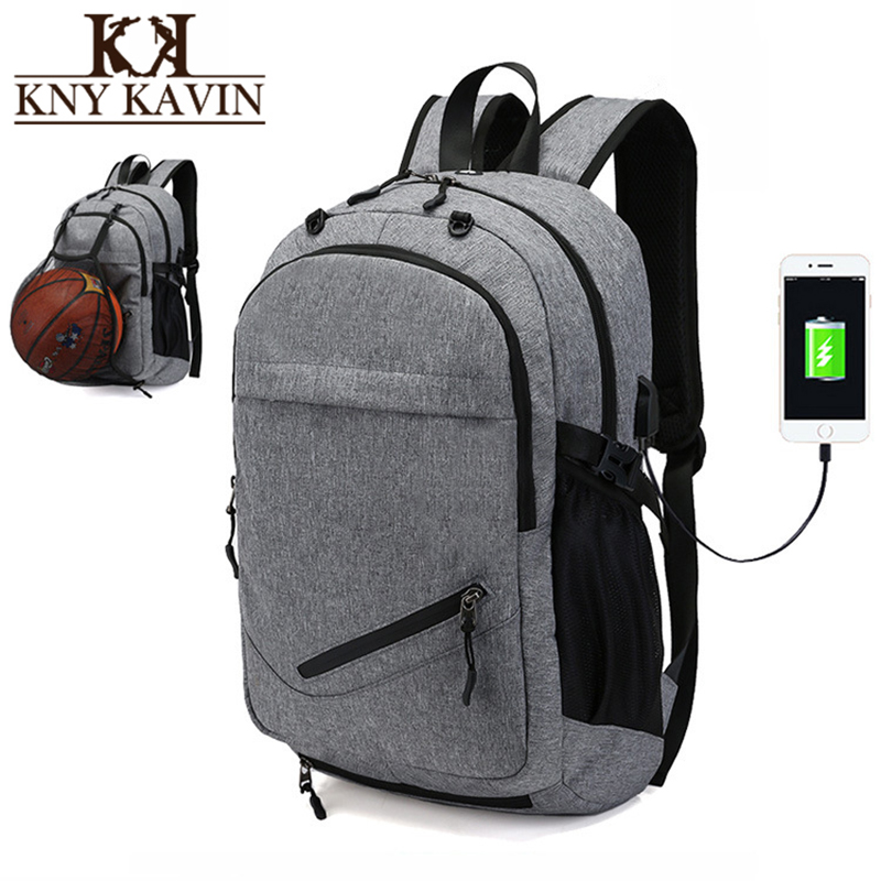 KNY KAVIN Men USB Laptop Notebook Backpack Casual Bag School Backpack for Teenager Boys Ball Net Bags Mens Casual Travel Bagpcak one2 design colorful 600d polyester school bag laptop backpack ice cream for university students women man teenager boys girls