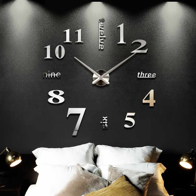 Neue ankunft Quarz home decoration acrylic mirror large wall clock 3D DIY wall sticker clock modern design unique fashion gift
