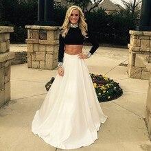 Wunderschöne High Neck Long Sleeves Zwei Stücke Prom Kleider 2016 Mode Prom Formales Langes Abend Kleid