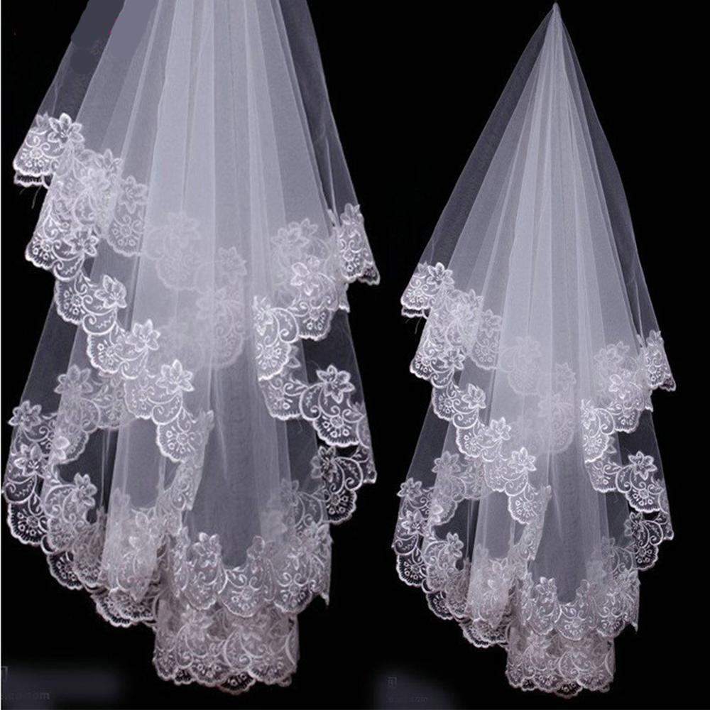 Hot 2019 Wedding Accessories White Ivory One Layer Bridal Veil Appliques Lace Edge Short Wedding Veil