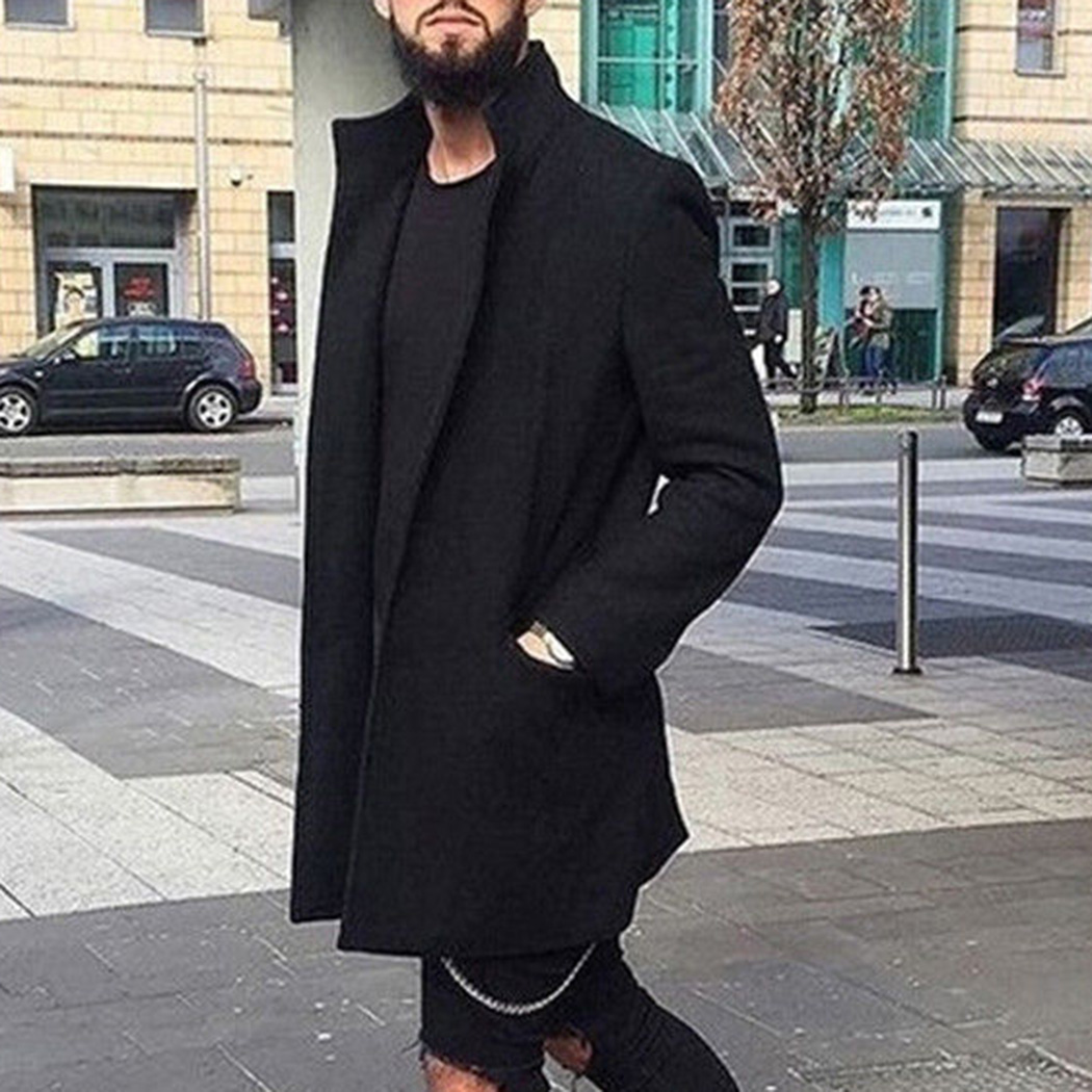 Winter Men Warm Lapel Long Coats Cardigan Fashion Male Solid Slim Jacket 2018 Autumn Wool   Trench   Coat 3XL Windbreaker Outwear