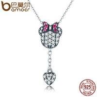 BAMOER Genuine 925 Sterling Silver Sparking CZ Cartoon Heart Tassel Necklace Women Authentic Sterling Silver Jewelry
