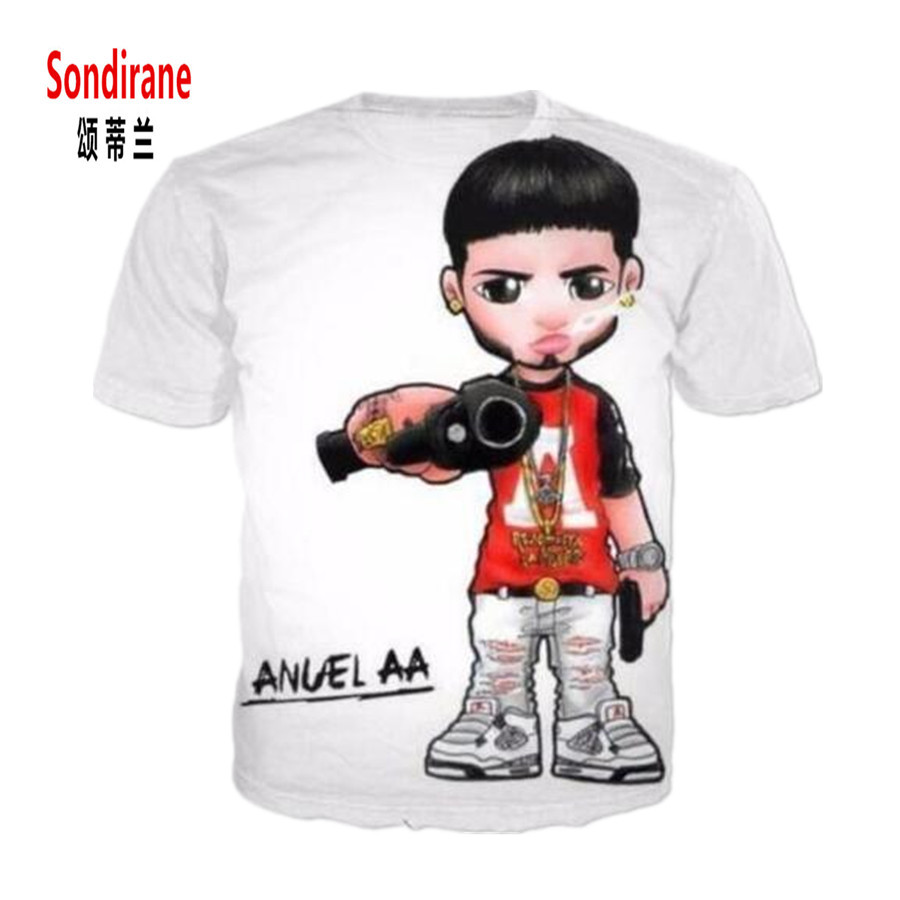 Sondirane New Fashion Womens/Mens Anuel Aa Funny 3D Print Casual T-Shirt Summer Shor Sleeve Crewneck Tees Tops Design Clothing