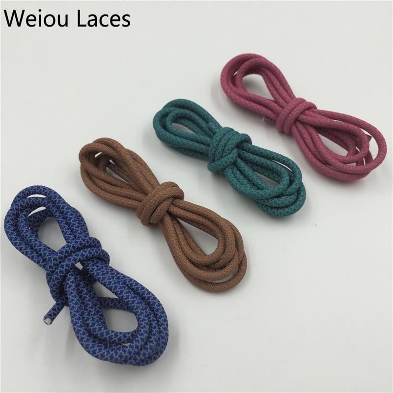 (30 זוגות / לוט) Weiou הטוב ביותר מתנה 3M רפלקטיביים שרוכים שרוולים צבעוניים יצירתי עגול צחצוח תחרה עצות פלסטיק Bootlaces עבור נעלי