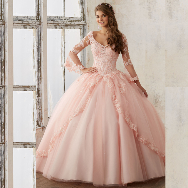 2017 New Pink Color Ball Gown Quinceanera Dresses With ...