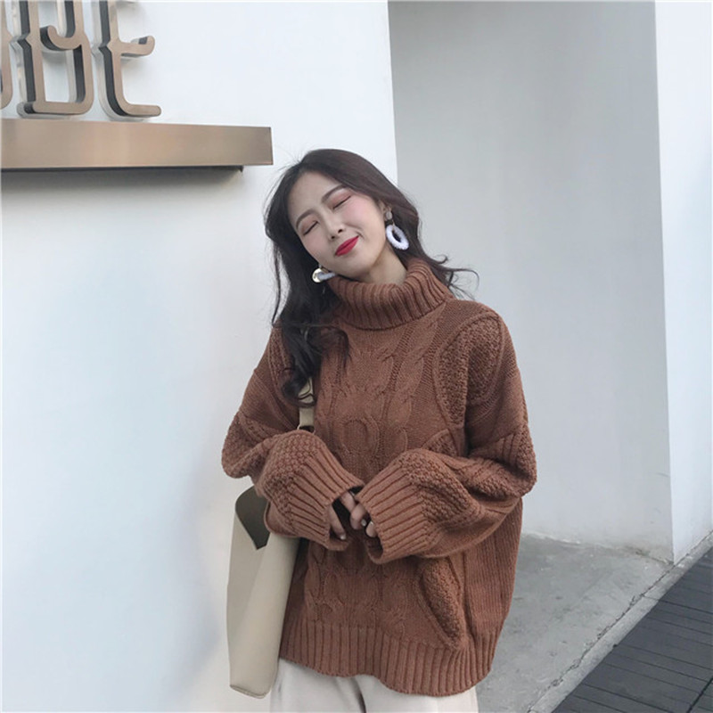 High Collar Ladies Pullover Twist Twist Sweater Long Sleeve Loose Sweater Coat 2019 New Korean Fashion Sweater AS117