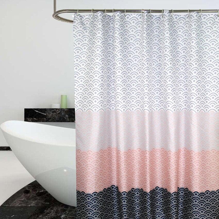 北欧シャワーカーテン幾何学色ブロックバスカーテン浴室浴槽用水着カバー特大ワイド 12 個フック