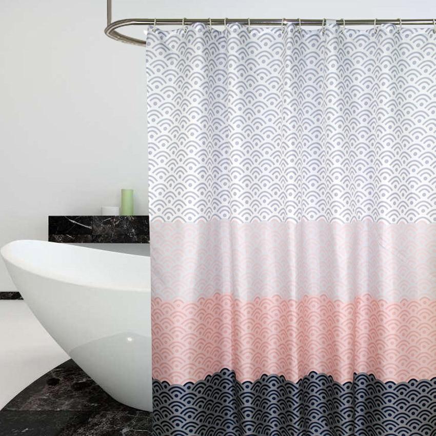 Nordic Shower Curtain Geometric Color Block Bath Curtains Bathroom For Bathtub Bathing Cover Extra Large Wide 12pcs Hooks box clutch purse
