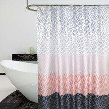 Cortina de ducha nórdica, bloque de Color geométrico, cortinas de baño para bañera, cubierta de baño, ganchos Extra grandes y anchos, 12 Uds.