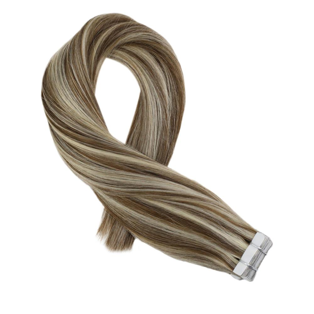 Moresoo Human Hair Extensions Tape In Human Hair Extensions Highlight Color P#8/613 Brazilian Machine Remy Hair 2.5g/Pcs