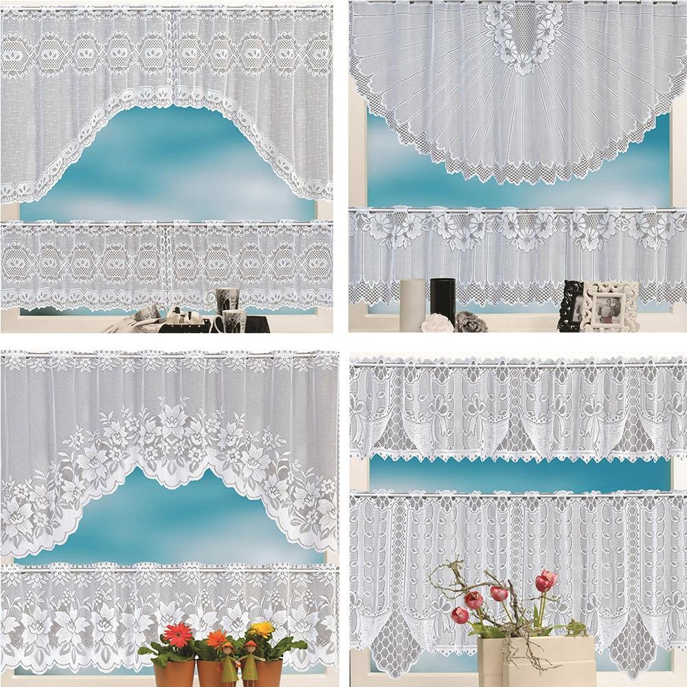 2019 Fashion 2pcs Lace Coffee Cafe Window Tier Curtain Set
